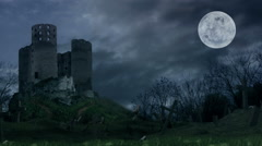 Dark castle on hill during the storm. Stock Footage