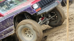 Closeup of the truck in difficult terrain - stock footage