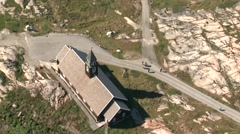 Aerial heli shot of the church in Ilulissat 4 Stock Footage