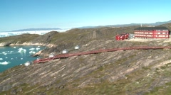 Aerial heli shot of iglos and the hotel Arctic Stock Footage