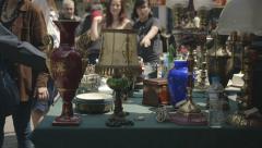 Antiques,old merchandise at the flea market, Monastiraki,Athens,Greece - stock footage