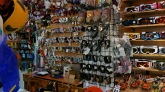 Inside of shop of outdoor  sportswear and equipments.Panorama 4K 3840x2160 Stock Footage