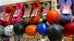 Inside of shop of outdoor. Climbing  ropes and sports equipment. 4K 3840x2160 Stock Footage