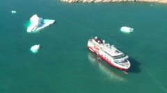 "Aerial heli shot of crusie ship ""Fram"" in the arctic Stock Footage"