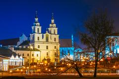 Night Scene Building Of The Cathedral Of Holy Spirit In Minsk - Stock Photos