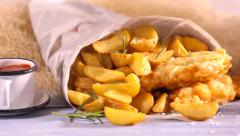 Hot fish and chips with lemon Stock Footage