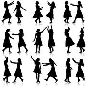 Black silhouettes of beautiful womans on white background. Vector illustratio - stock illustration