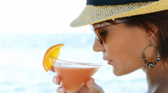 Girl Drinking Cocktail At Sea Stock Footage
