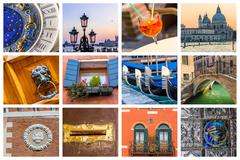 Colorful collage of venice - stock photo
