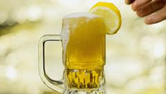 Beer cocktail arrange golden - stock footage