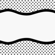 Black and White Polka Dot Background with Ribbon - stock illustration