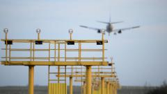 Runway lights. Landing at the airport Stock Footage