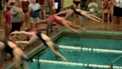 Girls swim team 23 - stock footage