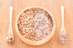Organic multi whole grain of jasmine rice - stock photo
