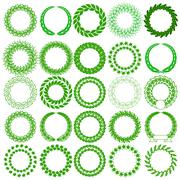 Set  green laurel wreath on the white background. Vector illustration. - stock illustration