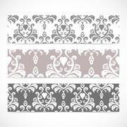 Collection gorizontal banners in the style of Baroque . Modern Vector Stock Illustration