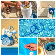 Collage maintenance of a private pool Stock Photos