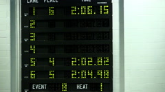 Swimming scoreboard 7 - stock footage