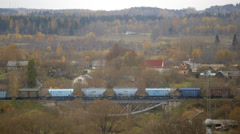 Cargo Train in a Valley Stock Footage