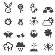 spring icon set - stock illustration