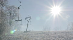 Beutiful and modern ski slopes and ropeway above town of Zajecar in Eastern S Stock Footage