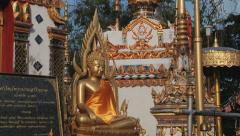 Exterior of the Buddha statue in Wat Phra Borommathat in Tak, Thailand. Stock Footage