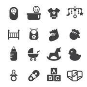 baby icon set - stock illustration