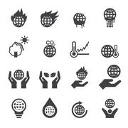 Global warming icons Stock Illustration
