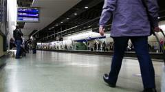 Mature female passenger, St. Pancras station, London, UK Stock Footage
