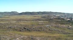 Aerial heli shot road to Hotel Arctic in Ilulissat Stock Footage