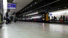 Thameslink train, St. Pancras train station, London, UK Stock Footage