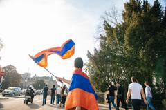 Armenian genocide 100th  rememberance march in France - stock photo