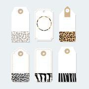 Set of various tags, labels with trendy animals skin patterns, vector illustr Stock Illustration