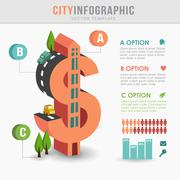Flat 3D isometric city infrastructure infographics, costs concept, dollar sha Stock Illustration