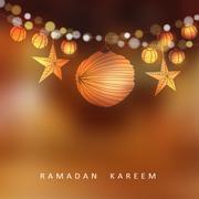 Illuminated paper lanterns and stars with lights, vector illustration backgro - stock illustration