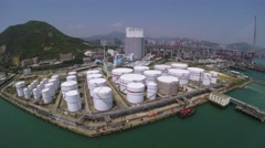 Aerial Shot of Oil Storage Tanks Stock Footage