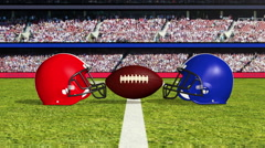 An American football and helmets come crashing down Stock Footage