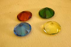 Four glass diamonds 1 - stock photo