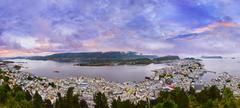 Panorama of Alesund - Norway - stock photo