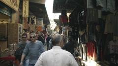 Walking.tracking, through Monastiraki flea market, shops Stock Footage