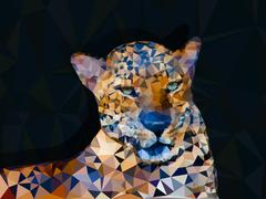 Low poly geometric of leopard Stock Illustration