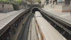 Monastiraki train station Athens,high angle overview,passengers,crowded Stock Footage