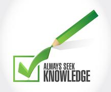always seek knowledge check mark sign concept - stock illustration
