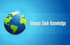 Always seek knowledge globe sign concept Stock Illustration