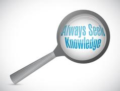 Always seek knowledge magnify glass sign concept Stock Illustration