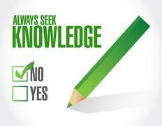 Always seek knowledge negative sign concept Stock Illustration