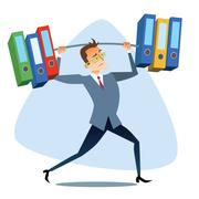 Businessman raises severe reports like the barbell weightlifting Stock Illustration