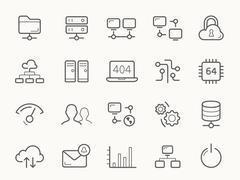 Network Hosting and Servers Line Icons Piirros