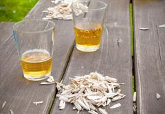 Sunflower seed husks on the garden table. Stock Photos