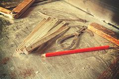Old traditional carpentry tools. Stock Photos